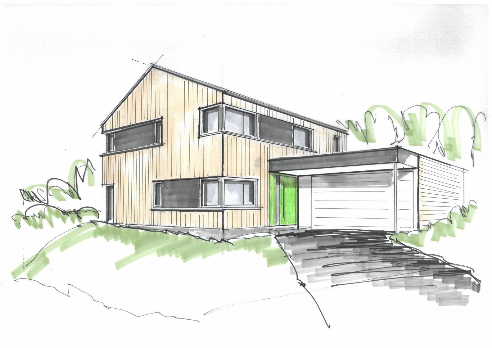 Neubau einfamilienholzhaus im gr nen der holzbau schweiz for Neubau einfamilienhaus
