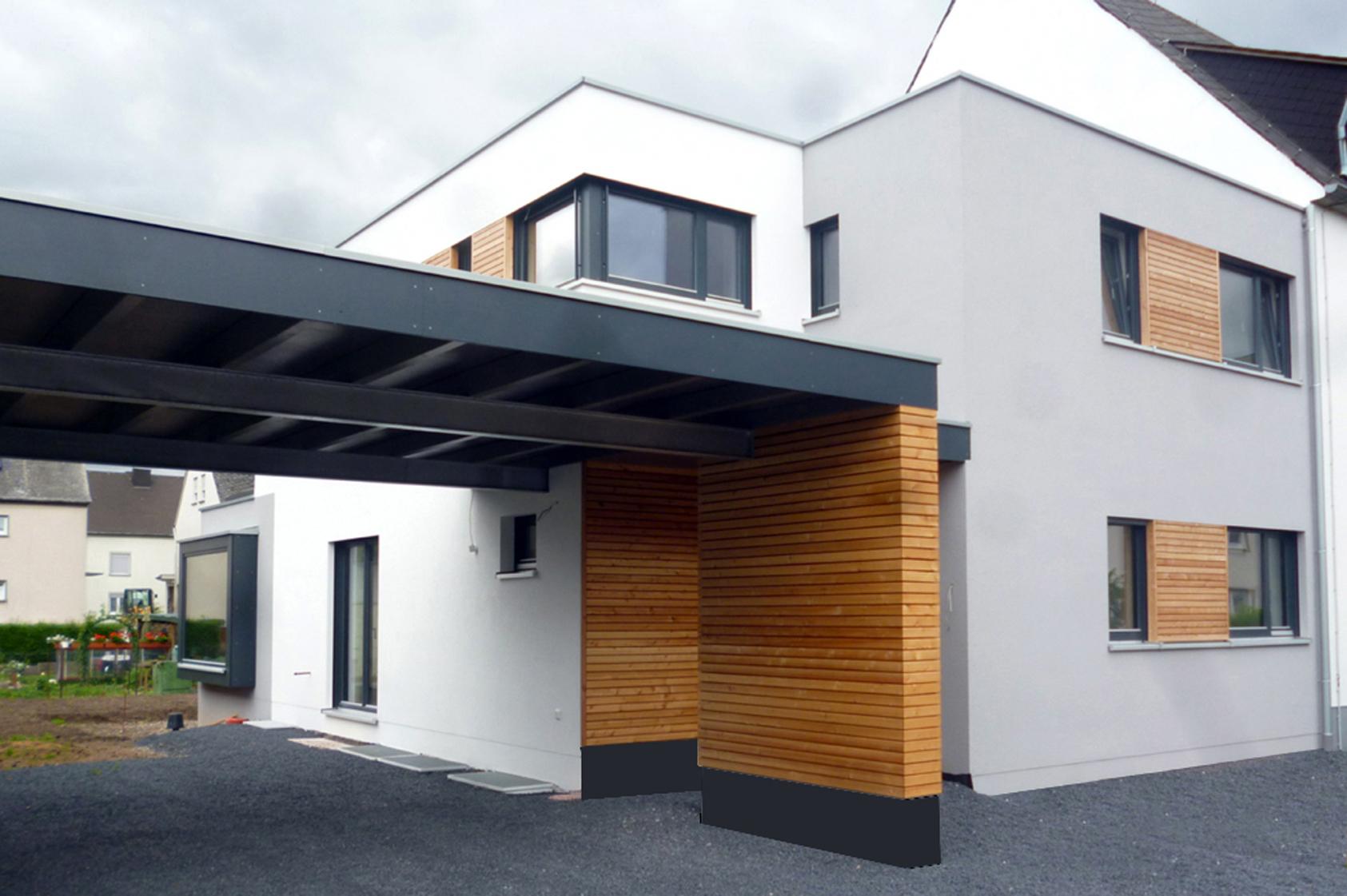 Anbau einfamilienholzhaus modern umgesetzt der holzbau for Holzhaus modern bauen